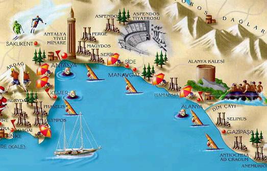 Antalya Harta turistica