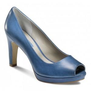 pantofi albastri cu toc inalt