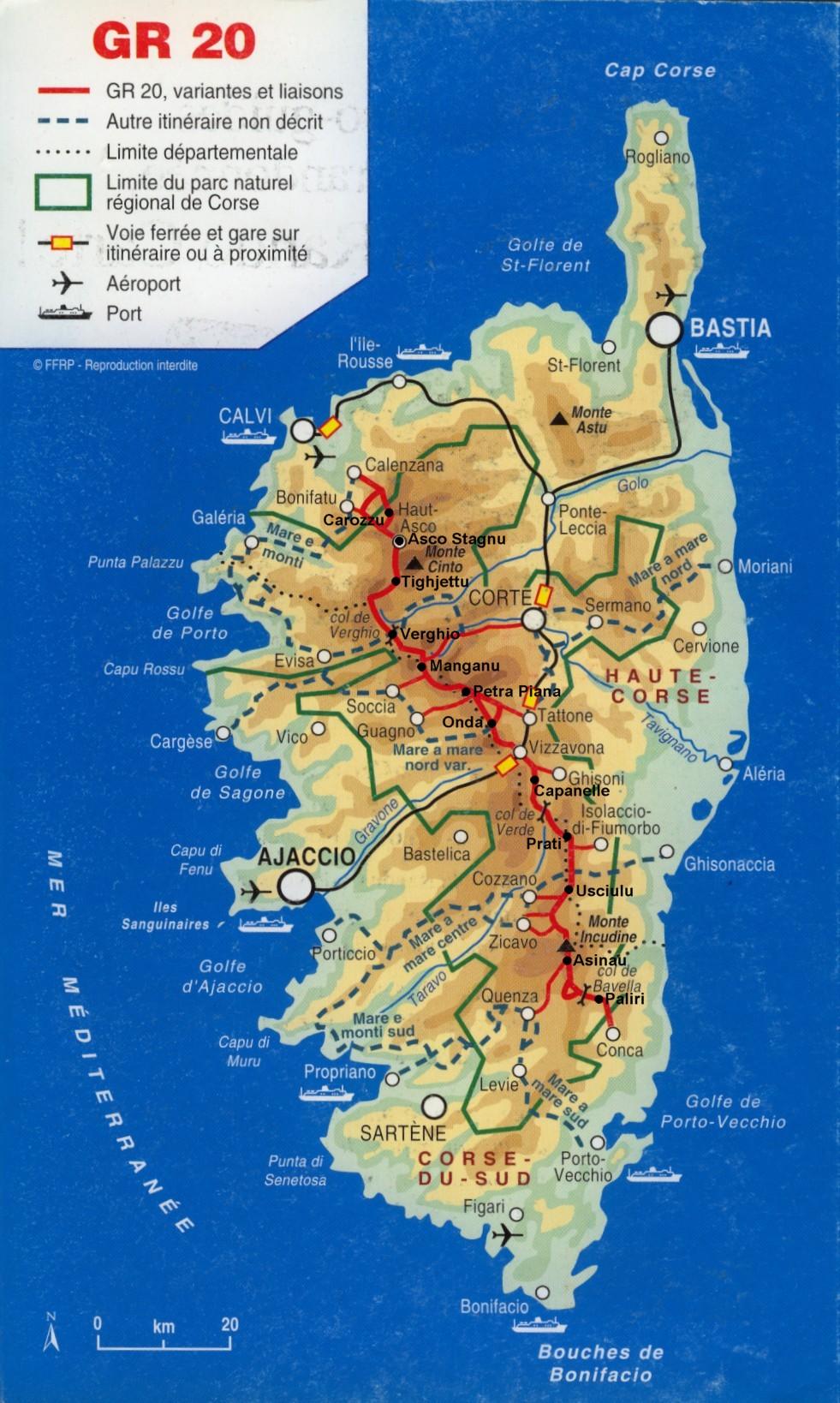 Harta turistica insula Corsica - Map