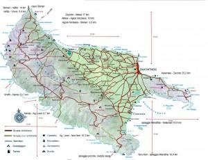 Insula Zakynthos Harta administrativa Zakynthos Map