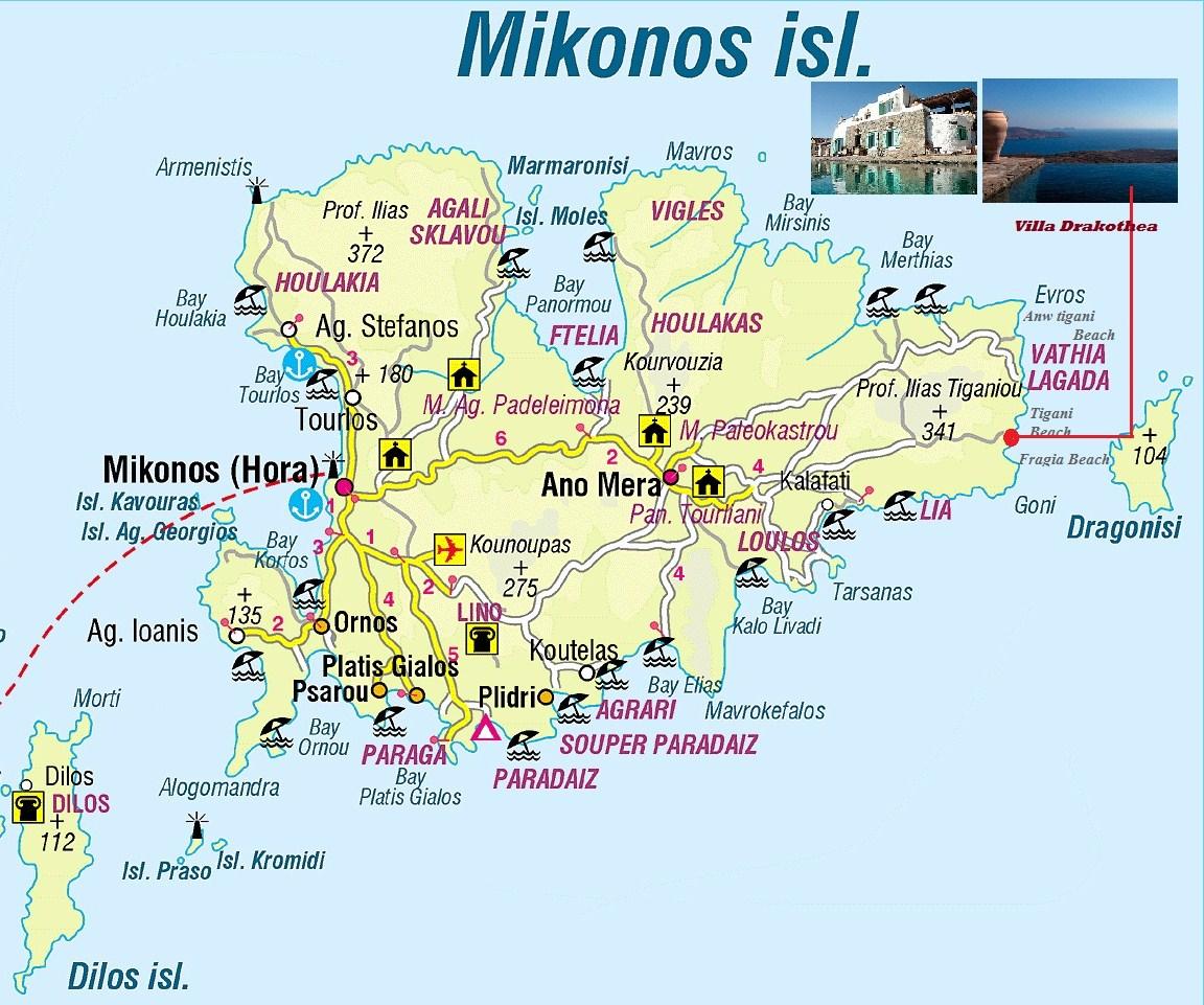 harta insula mykonos