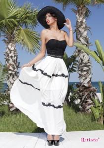Fusta alba cu dungi negre si corset negru
