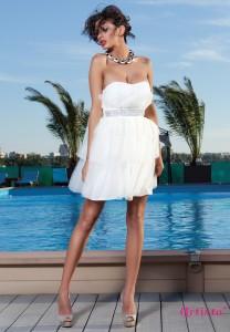 rochie alba scurta cu corset