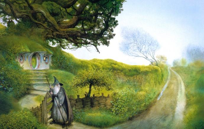 Casa hobitt-ilor și Gandalf din Stăpânul inelului în viziunea graficianului John Howe