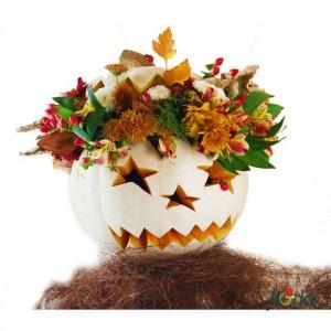 Aranjament cu flor sii dovleac halloween
