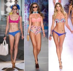 Costume de baie cu bikini si sutien neasortati