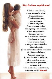 Poezia sa ti fie bine copilul meu