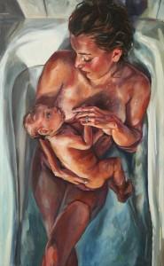 pictura cu o mama ce alapteaza